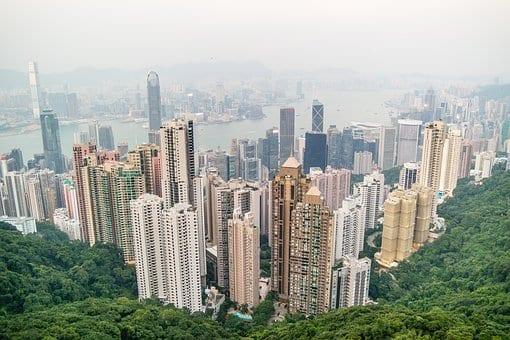 Vista de los rascacielos de Hong Kong
