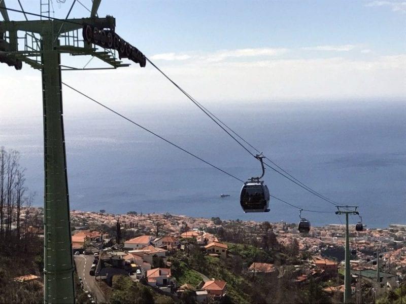 Vista de pájaro de Funchal desde el teleférico
