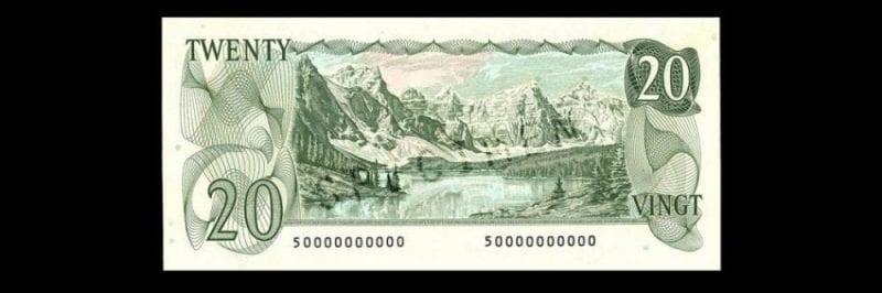 Lago Morraine en un billete de 20 dólares canadienses