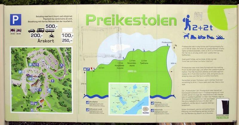 Plano descriptivo de la ruta al Pulpit rock