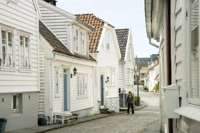 Casas históricas en el casco viejo de Stavanger