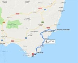 Plano de cómo llegar a las playas de Cabo de Gata