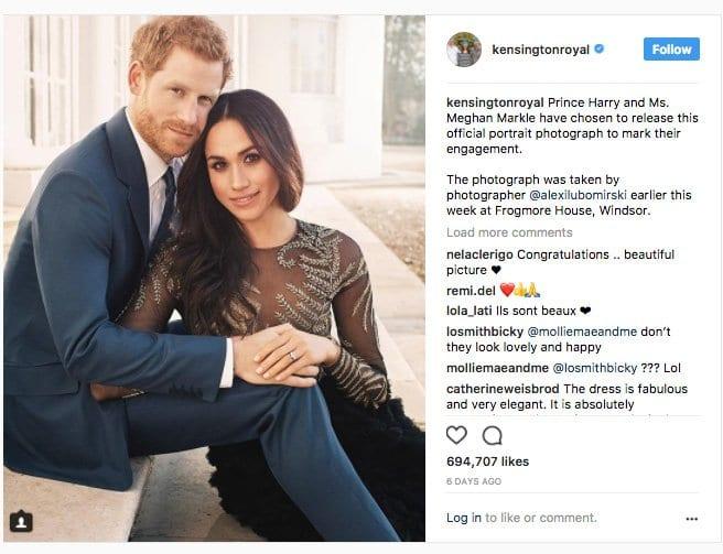 Anuncio de la boda real en Instagram