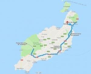 Mapa con la ubicación de distintos lugares en la ruta de César Manrique en Lanzarote