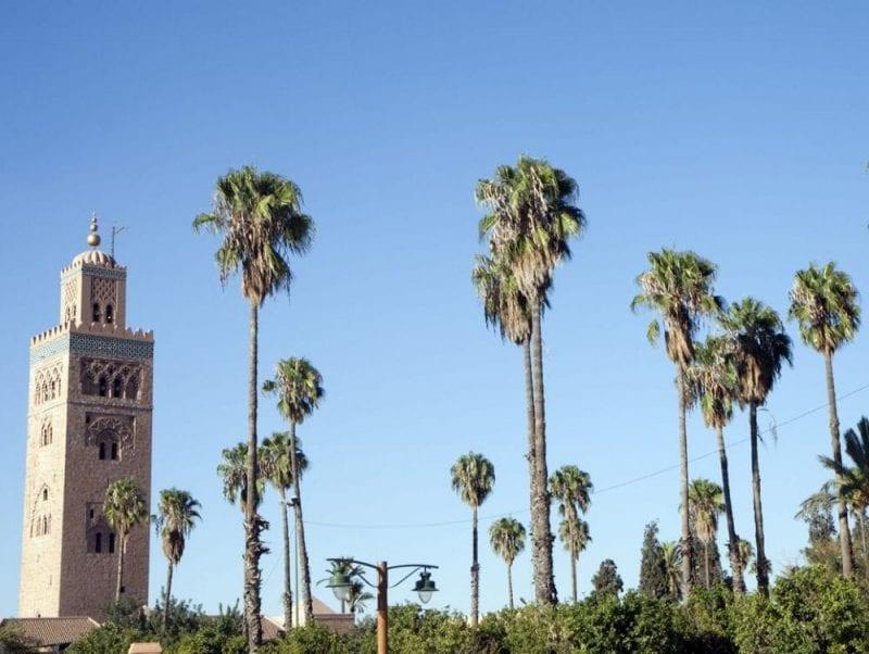 El minarete de la Kutubia rodeado de palmeras