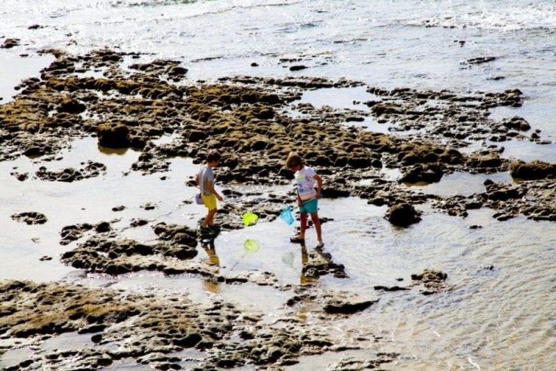 Niños jugando entre las rocas en Las Canteras