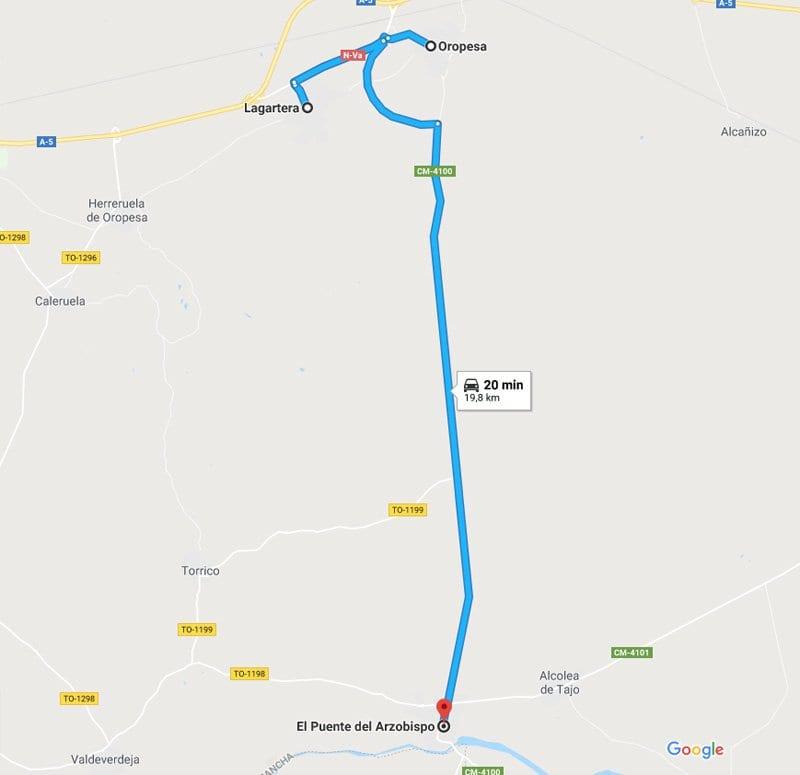 De Oropesa de Toledo a Puente hay 12 kilómetros de distancia