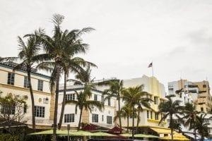 Detalle de fachadas de Ocean Drive