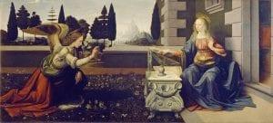"""La """"Anunciación"""" de Leonardo, está en la Galería Uffizi"""