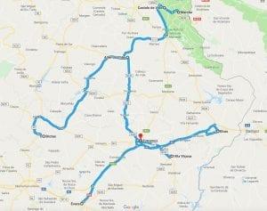 Mapa ruta en coche por el interior del Alentejo en Portugal
