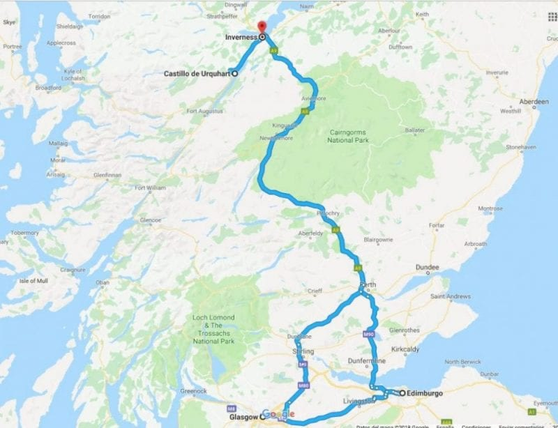 El Lago ness está a unas 3 horas de Glasgow y Edimburgo