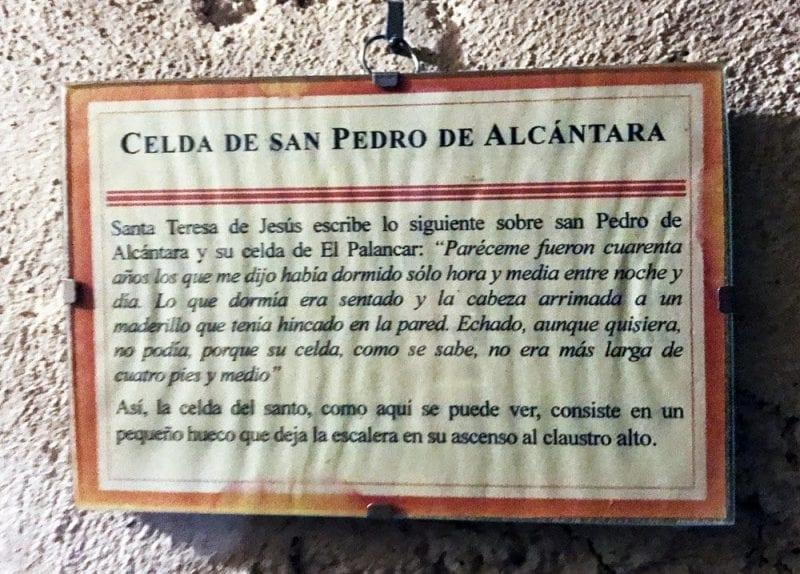Historia explicativa en la celda de San Pedro de Alcántara