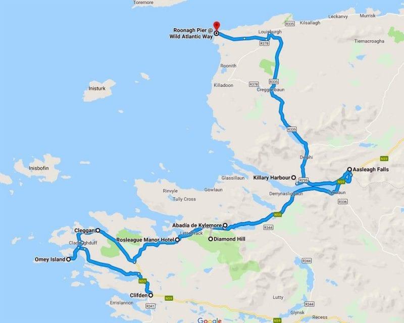 Plano de las paradas destacadas en una ruta por Connemara