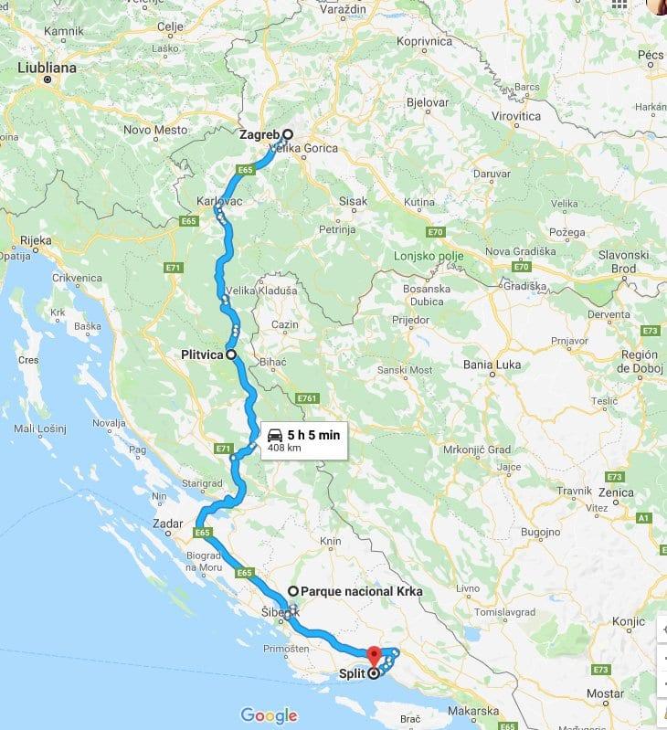 Plano de situación de Plitvice y Krka