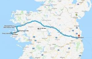 Plano de la ruta por carretera de Dublín a Clifden