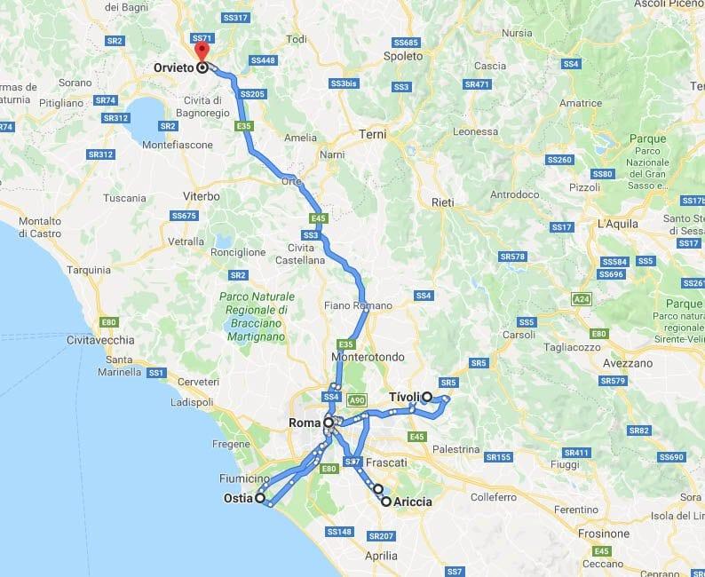 Mapa de pueblos que visitar en los alrededores de Roma