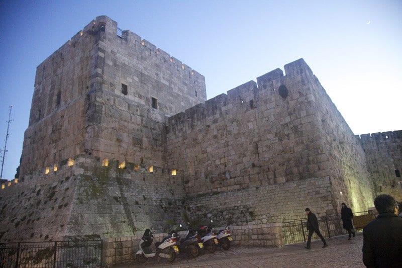 Torre de David en la puerta de Jaffa en Jerusalén