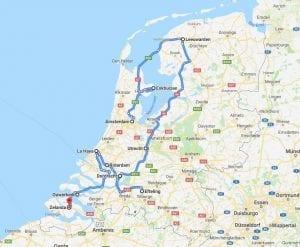 Mapa de la ruta en coche por Holanda