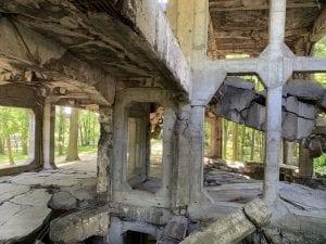 Detalle de las ruinas de la batalla de Westerplatte