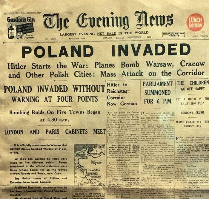 Portada de un periódico el día de la invasión de Polonia