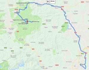 Mapa de la ruta de los volcanes en la Garrtoxa