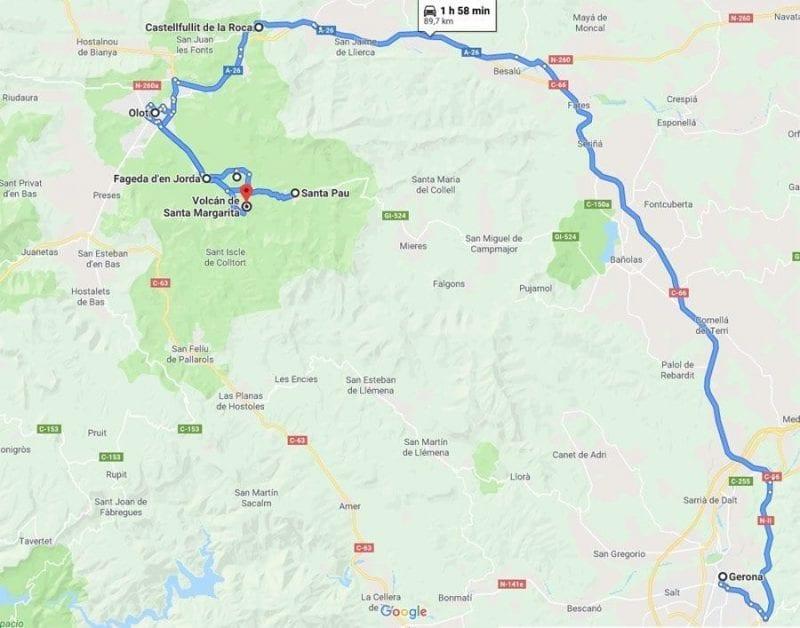 Mapa de la ruta de los volcanes en la Garrotxa