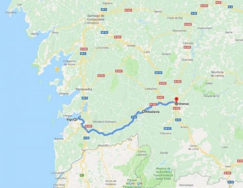 Mapa como llegar a Ribadavia Ourense