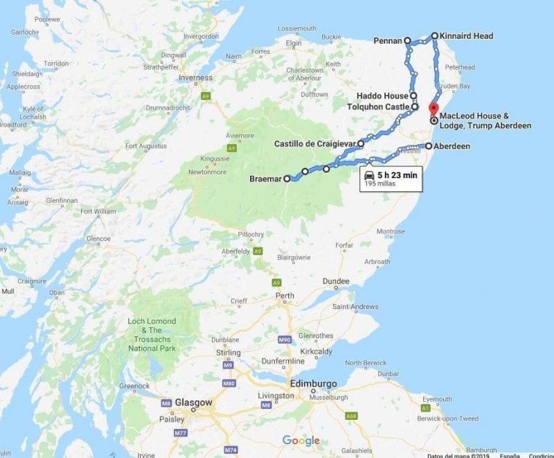 Mapa de la ruta por los castillos de Aberdeen, en Escocia, en coche