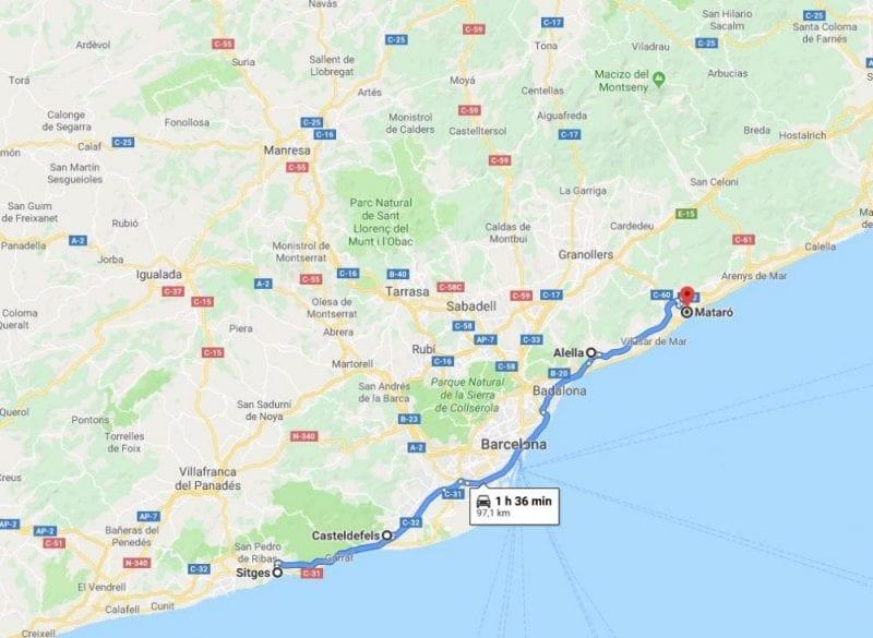 Mapa de la ruta propuesta por la costa de Barcelona