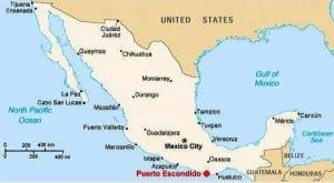 Mapa con la ubicación de Puerto Escondido