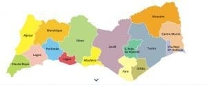Mapa de regiones donde se celebra 365 Algarve