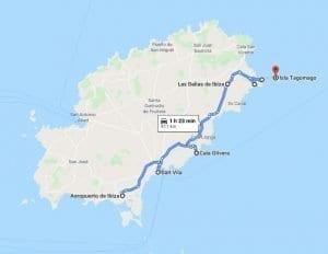 Mapa de carreteras de Ibiza ruta este