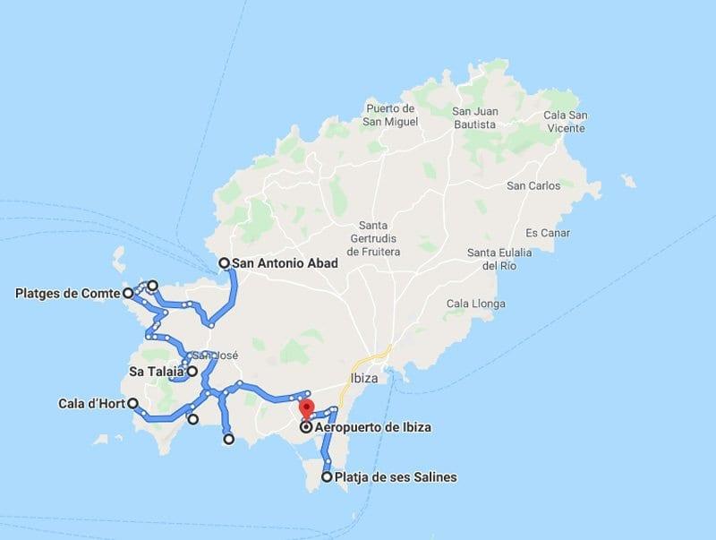Mapa carreteras de Ibiza, puntos de interés en la zona oeste