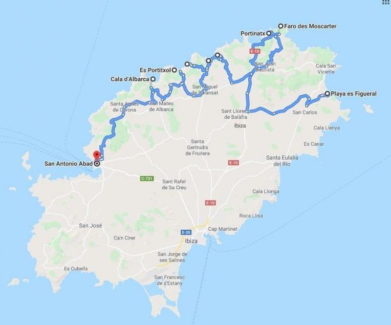 Mapa carreteras de Ibiza, puntos de interés en la zona norte