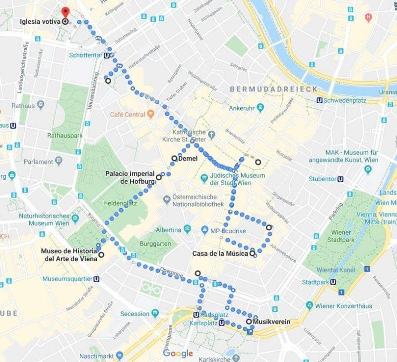 Mapa con los puntos claves en la vida de Beethoven en Viena