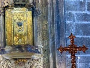 Detalle del Santo Cáliz custodiado en la Catedral de Valencia