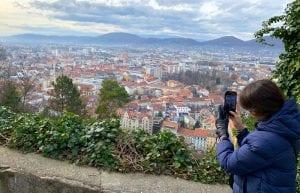 Vistas de Graz desde lo alto de la colina