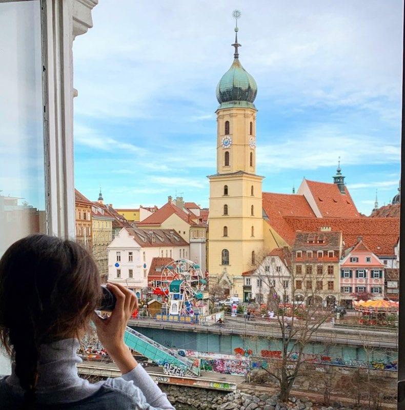 Panorámica de Graz desde el hotel Wiesler