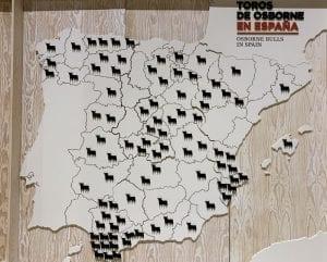 Mapa de los toros Osborne hay en España.