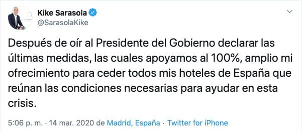 Tweet de Kike Sarasola