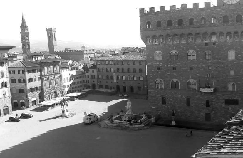 Vista del Palacio Viejo y de la fuente de Neptuno en Florencia