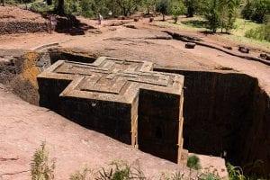 Detalle de uno de los templos de Lalibela