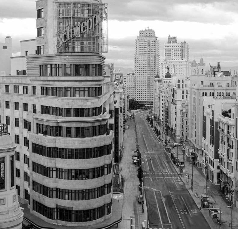 Gran Vía de Madrid durante la pandemia