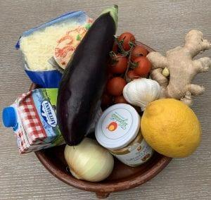 Ingredientes para preparar berenjenas rellenas