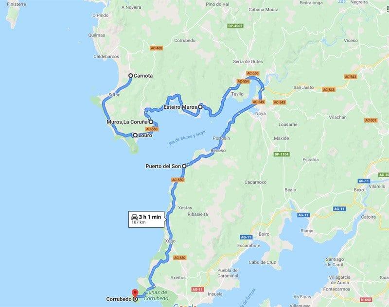 Mapa ruta Ría de la Estrella Galicia