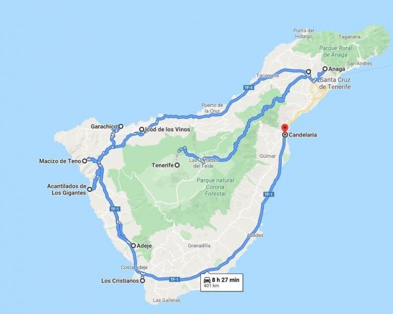Mapa ruta Tenerife