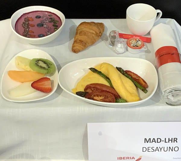 Detalle de los menús vuelos iberia corto radio