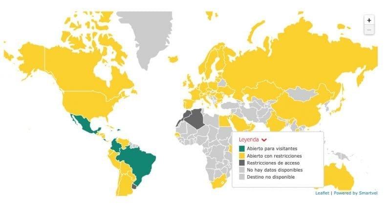 mapa restricciones covid mundo