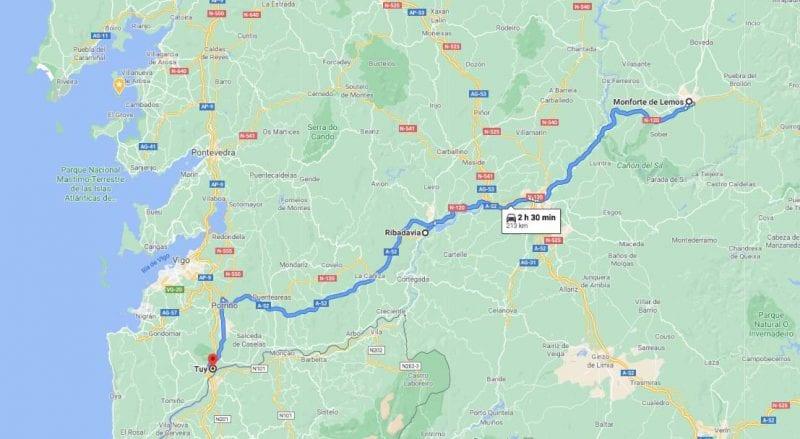 Mapa de la ruta entre las tres ciudades gallegas de la red de juderías: Monforte, Ribadavia y tui