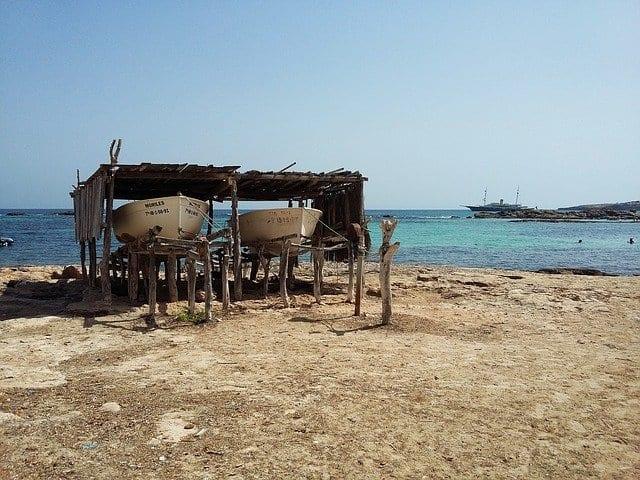 Embarcaderos de madera de Formentera